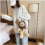 Mdsfe Bolso Bandolera de Oso de Peluche Lindo Chica Bolsos de Hombro de Piel Inusual Bolso de Mensajero de Cadena de Mujer de Moda Estilo Coreano japonés - marrón