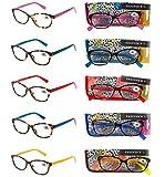 Pack 5 Gafas Lectura Vista Cansada Presbicia, Graduadas Dioptrías +1.00 hasta +4.00, con Montura de Pasta, Bisagras de Resorte, Para Leer, Unisex OM832 (+300)