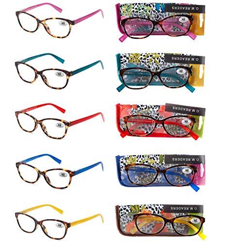 Pack 5 Gafas Lectura Vista Cansada Presbicia, Graduadas Dioptrías +1.00 hasta +4.00, con Montura de Pasta, Bisagras de Resorte, Para Leer, Unisex OM832 (+100)