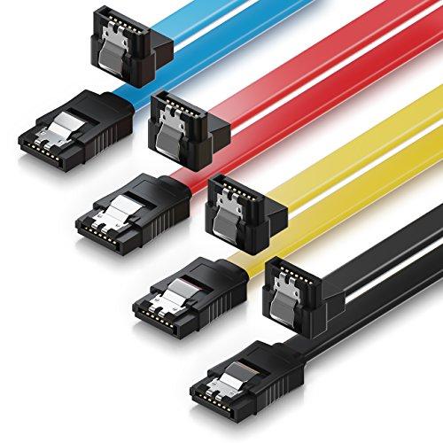 deleyCON 4X 50cm SATA III Kabel S-ATA 3 Datenkabel 6 GBit/s Verbindungskabel Anschlusskabel für HDD SSD - Metall-Clip - 1x Gerade 1x 90° L-Type Stecker - Gelb/Rot/Blau/Schwarz