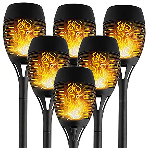 T-mark Solar Lights Outdoor, Waterproof Flickering Flames Torches Lights Outdoor Solar Spotlights Landscape Decoration Lighting Dusk to Dawn Auto On/Off Security Torch Light for Patio Driveway, 6 Pack