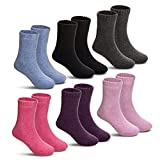 Children's Winter Warm Wool Solid Color Socks Kids Boy Girls Thermal Crew Socks 6 Pairs(Solid Color,4-7 Years)