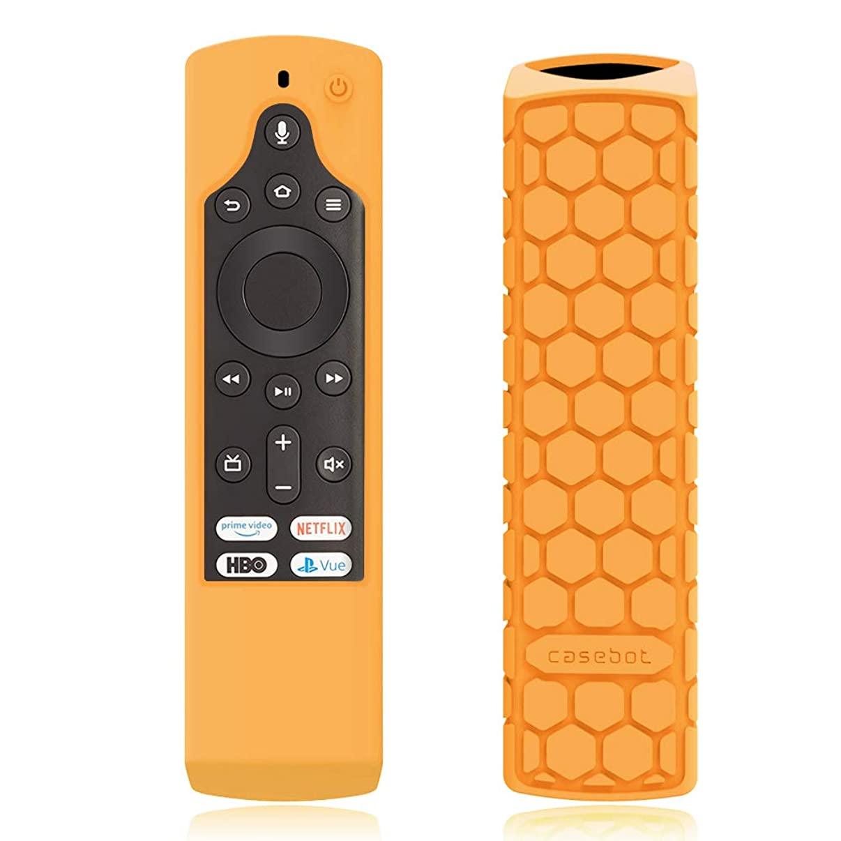 CaseBot Silicone Case for Fire TV Edition Remote - Honey Comb Series [Anti Slip] Shock Proof Cover for Amazon All-New Insignia/Toshiba 4K Smart TV Voice Remote/Element Smart TV Voice Remote, Orange