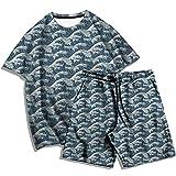 Moda Hombre Verano impresión 3D Serie Ola Imagen Camiseta Traje Hombres y Mujeres Casual Camiseta de Dos Piezas + Pantalones de Playa-D_XL