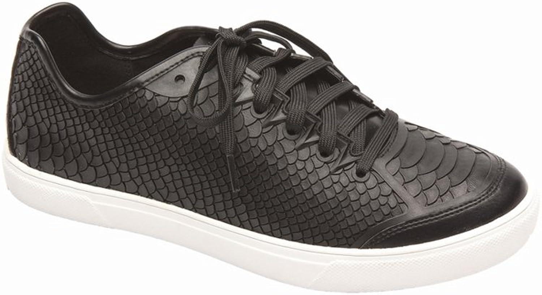 Pic Pay Alisa Women's Sneakers - Crocodile Embossed Lace-Up Sneaker Black 8M