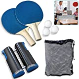 OFOCASE Ping Pong Sets, Table Tennis Set, Retractable Table Tennis Set 3 Balls, Portable 2 Blue Table Tennis Bats and1 Net for Kids Adults Indoor Outdoor Game Fits Home, School, Office, Sports Club