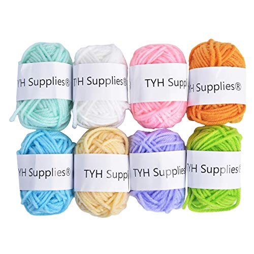 TYH Supplies 8-Pack 22 Yard Acrylic Yarn Light Colors Skeins - Perfect for Knitting and Crochet