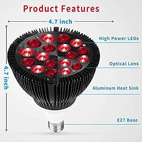 660nm rote und 850nm kombinierte rote Infrarot-Gl/ühbirne f/ür Haut- und Schmerzlinderung Upgrade 54W 18 LED Infrarot Lichttherapieger/ät Rotlicht-Therapielampe Heim- und Sch/önheitssalon