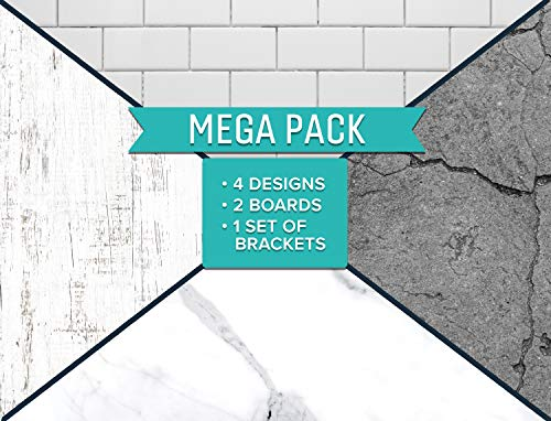SnapIt Boards MEGA Pack-two 2-Sided Boards & Bracket-Photo Backdrop Boards for Flat Lay & Food Photography, Durable Waterproof Realistic Photo Backgrounds for Product Photography 26x20 (Whites & Gray)