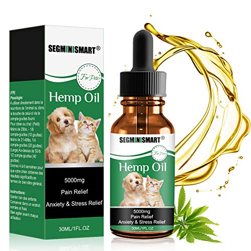 SEGMINISMART Hemp Oil for Dogs Cats,Pets Hemp Oil 5000mg Separation Anxiety Relief,Joint Pain,Stress Relief, Arthritis, Sleep and Treats Skin