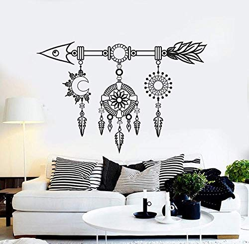 Adhesivo decorativo para pared, diseño étnico, arte étnico, regalo único, 2SH12-No.1, negro, 64 x 42 cm