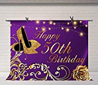 X50歳の誕生日の背景ゴールドローズとヒールの写真の背景7x5ftローズゴールドパーティーの装飾お祝いの小道具写真撮影の小道具7x5ftBJLSFU181