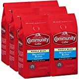 Community Coffee Breakfast Blend Medium Roast - Premium Whole Bean - 12 Oz Bag (Pack Of 6), Breakfast Blend, 72 Oz, Red