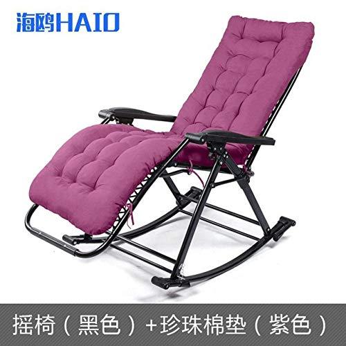 WUJNFAJFA Cómoda Silla Mecedora Relax Silla de salón Plegable Silla Relax con cojín de Tela de algodón Sillón reclinable, 2