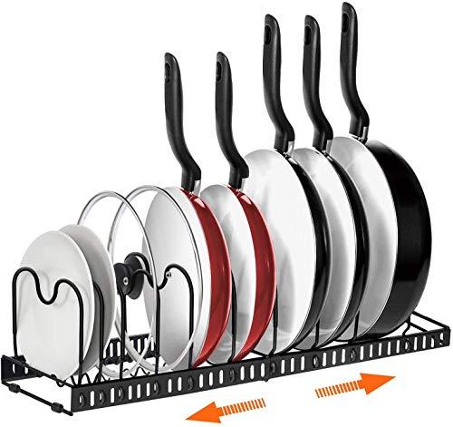 Organizador de ollas, 2 estantes o 1 estante expandible, organizador de sartenes y macetas AHNR con 10 compartimentos ajustables, armario de cocina, organizador de tapa para hornear