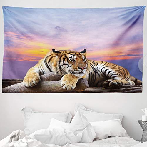 ABAKUHAUS Safari Wandteppich & Tagesdecke, Tiger Colorful Sunset, aus Weiches Mikrofaser Stoff Wand Dekoration Für Schlafzimmer, 230 x 140 cm, Lavendel Senf