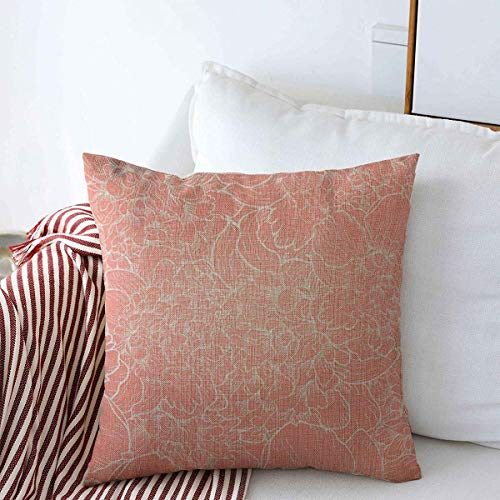 Starodet Pillow Case Wedding Orange Floral Pattern Peonies Abstract Peony Blossom Pink Line Outline Vintage Baroque Farmhouse Decorative Throw Pillows Covers 20'x20' for Fall Decorations