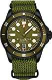 Stuhrling Original Watch for Men - Diver Watch - Mens Sport Watches with Screw Down Crown Water Resistant up to 200M - Green Nylon Analog Watch Japanese Quartz Watch Movement -Mens Watches