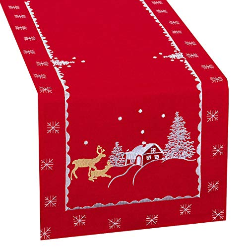 Simhomsen Large Embroidered Reindeer Table Runner for Christmas Holidays (Red, 14 × 108 Inches)