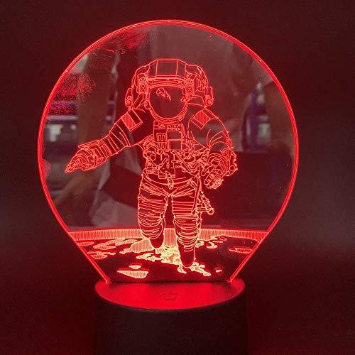 3D-Illusion Nachtlicht 7 Farbe Led Vision Die Tronauten Raumsensor Büro Hölle Seien Sie Berühmtheit Neuheit am Bett Halloween Bunte kreative Geschenk Fernbedienung