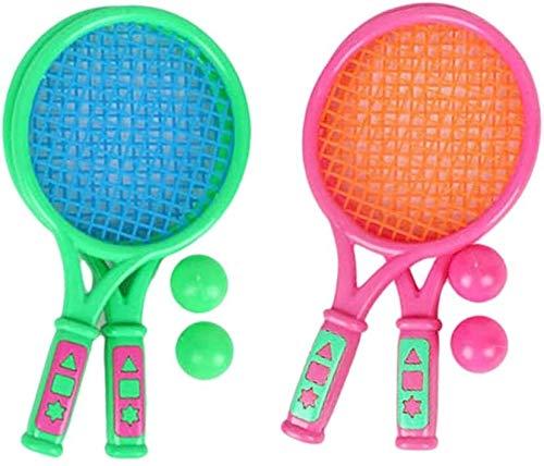 Juego de 4 raquetas de tenis de playa para niños con 4 bolas, color verde y rosa