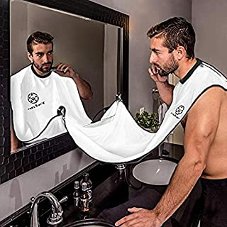 Beard Apron,Beard Shaving Bib - Hair Clippings Catcher, Grooming Cape Apron, Easy to Travel, for Man Shaving by Richhim - (White)