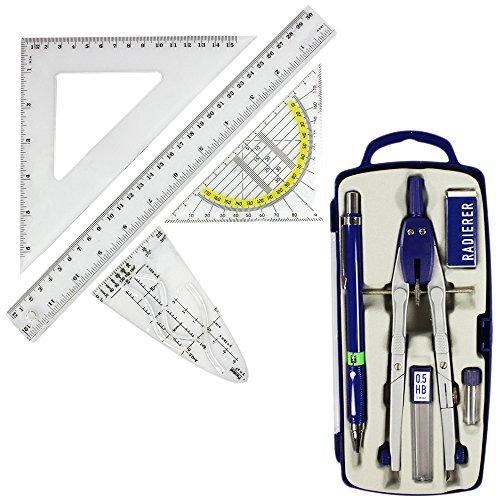 com-four® Geometrie Set - Geodreieck, Zirkel, Lineal, Dreickslineal, Parabel, Druckbleistift, Radiergummi und Ersatzminen - ideal für Schule, Studium, technisches Zeichnen