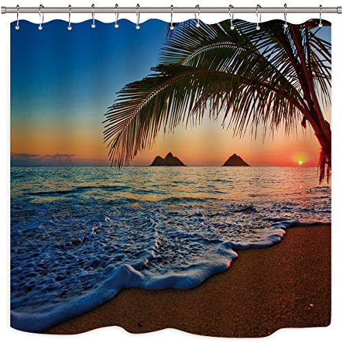 Riyidecor Sunset Hawaiian Shower Curtain Beach Tropical Palm...
