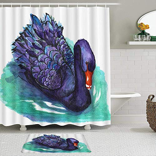 Fabric Shower Curtain and Mats Set,Swan Watercolor Animal Painting Art Beauty Cute Ink Pen Lakes Nature Wild,Waterproof Bath Curtains with 12 Hooks,Non Slip Rugs
