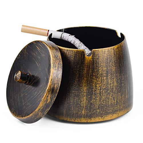 Demason Aschenbecher mit Deckel, Windaschenbecher aus Edelstahl für die Reinigung von Zigarettenasche Tischaschenbecher mit rutschfeste Basis für Outdoor & Indoor Dekoration (10x8,4CM)