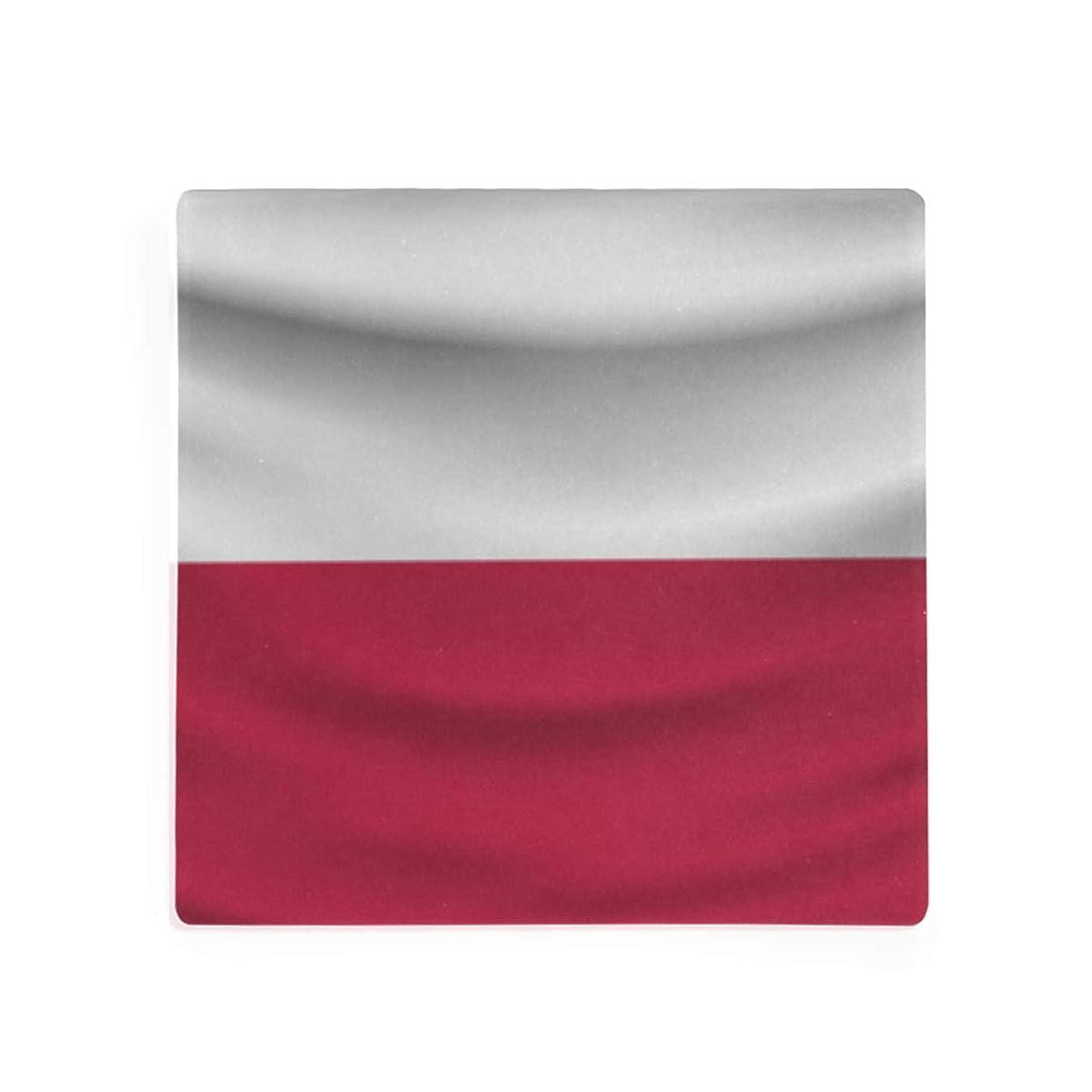 Poland Flag Square Coaster for Drinks Set of 1
