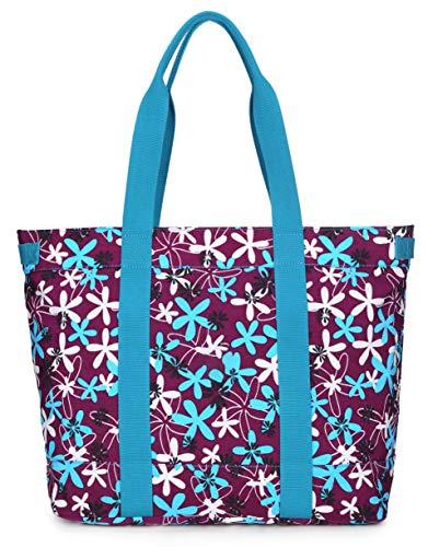 Crest Design Water Repellent Nylon Large Lightweight Work Travel Tote Handbag School Teacher Bag Fits Up To 17' Laptop (X-Large, Purple laurentia)