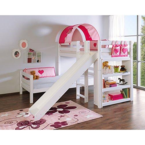 Relita Etagenbett BENI L mit Rutsche, Buche massiv, weiß lackiert, mit Tunnel und Tasche pink Herz