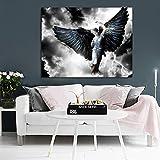 YuanMinglu Alas de ángel Negro mítico héroe Mujer póster e Impresiones Lienzo Arte de la Pared Foto Sala de Estar decoración del hogar Pintura Pintura sin Marco 60x80 cm