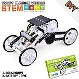Wenosda Stem Toys Kit de Juguete para Robot de Escalada 4WD Coches de Energía Solar de Bricolaje Kits de Ciencia de Robots de Modo Vehículos Modelo Eléctricos para Niños (Blanco y Negro)