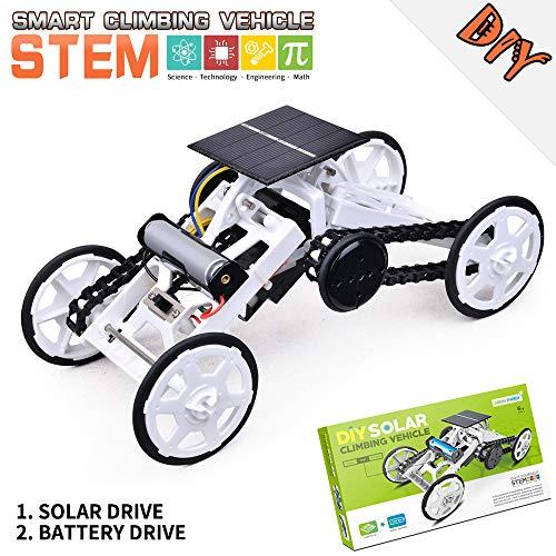 Wenosda Giocattoli STEM 4WD Kit Giocattolo Robot Auto Arrampicata Auto Educative a Energia Solare Fai-da-Te Kit Robot a Doppia modalità Batteria Veicoli Elettrici per Bambini(Bianco Nero)