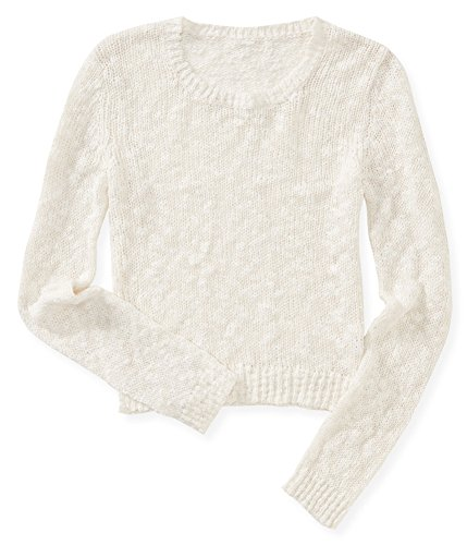 Aeropostale Womens Sheer Cropped Pullover Sweater, Off-White, Large
