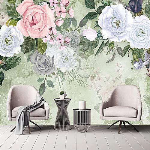 Murales, creatief elegant, vintage-stijl, wit met bloemen en kunstbloemen, groot, posterformaat voor Studio Biblioteca Classroom Cafe Bar decoratief aan de muur 100in×144in 250cm(H)×360cm(W)
