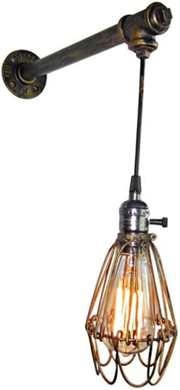 H&M Wandleuchte Vintage Industrial Wall Sconce Wandleuchte Lampe Creative Iron Cage Wasserpfeifen 1 Lichter mit E27 Sockel für Wohnzimmer Schlafzimmer Dekoration (220V, Birnen nicht enthalten)