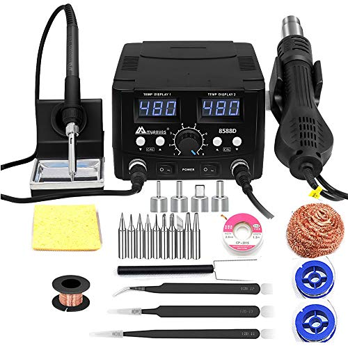 MYPOUOS 2 IN 1 750W LED Digital Soldering Station Hot Air Gun Rework Station Electric Soldering Iron For Phone PCB IC SMD BGA Welding SET 110V (8588D SET1)