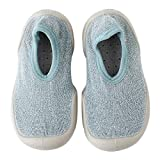 Lauflernschuhe Krabbelschuhe Kleinkindschuhe Mädchen Jungen Babyschuhe Weiche rutschfeste Gummisohle, Glänzendes Blau 12-18 Monate