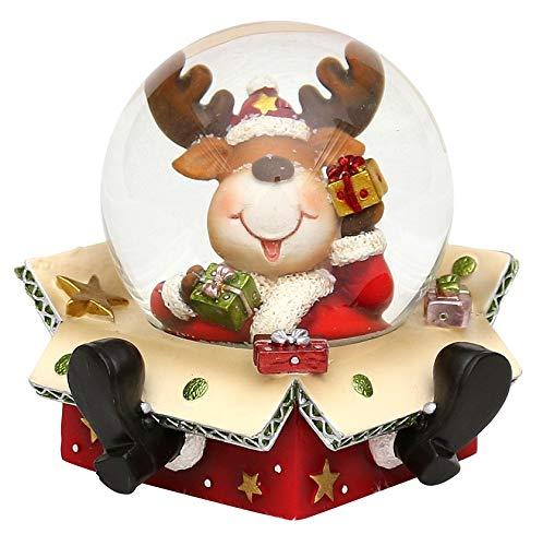 Bella palla di vetro con neve, con base a forma di scatola e renna, circa 9 x 9 cm/ Ø 6,5 cm
