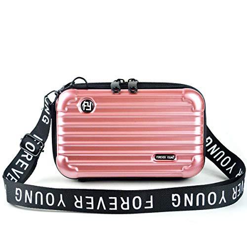 Mn&Sue Fashion Designer Mini HardSuitcase Wristlet CrossbodyHandbag for Women Storage Box Cosmetic Case (Rose Gold)