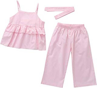 Princess Dresses for Toddler Girls,Infant Baby Girls Kids Straps Ruffle Tops T Shirt+Pants+Headband Outfits Set,Girls' Clothing,Pink,120