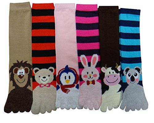6 Pairs Women Cozy Fuzzy Soft & Warm Slipper Animals Toe Socks