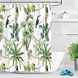 LB Duschvorhang Wildes Tier 150x180cm Grüner tropischer Baum Weiß Bad Vorhang mit Haken Polyester Wasserdicht Antischimmel Badezimmer Gardinen