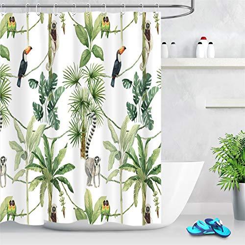 LB Duschvorhang Wildes Tier 180x200cm Grüner tropischer Baum Weiß Bad Vorhang mit Haken Extra Lang Polyester Wasserdicht Antischimmel Badezimmer Gardinen