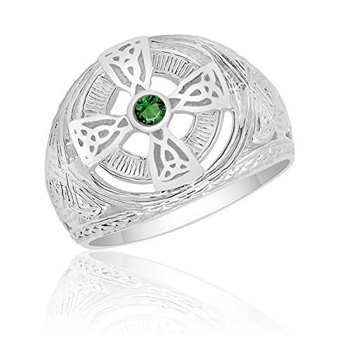 Men's Sterling Silver Celtic Cross Ring with 2.5mm Synthetic Emerald