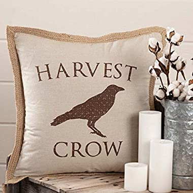 Piper Classics Harvest Crow Throw Pillow Cover, 20  x 20 , Fall Autumn Country Primitive Farmhouse Home Decor