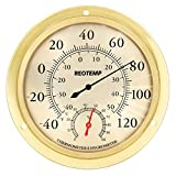 REOTEMP WTH6B Indoor Wall Thermometer Hygrometer, Analog, 5.75' Polished Metal Brass and Glass, Humidity and Temperature Monitor